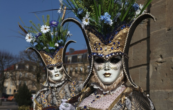 Picture flowers, mask, pair, costume, Venice, carnival