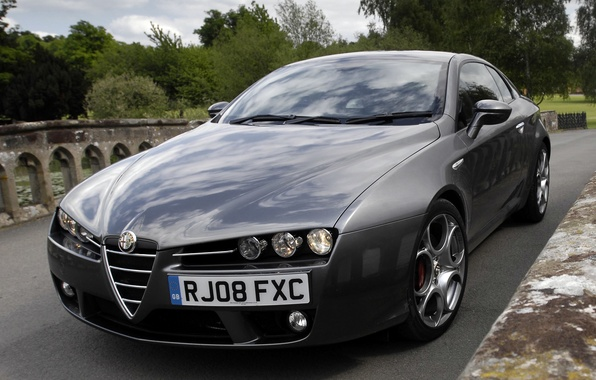 Picture lights, the hood, Alfa Romeo, car, beautiful, the front, Brera S