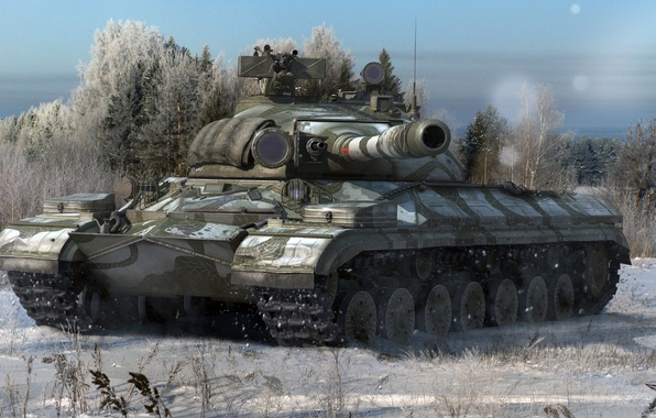 Picture winter, forest, snow, trees, tank, USSR, heavy, Soviet, World of Tanks, T-10M