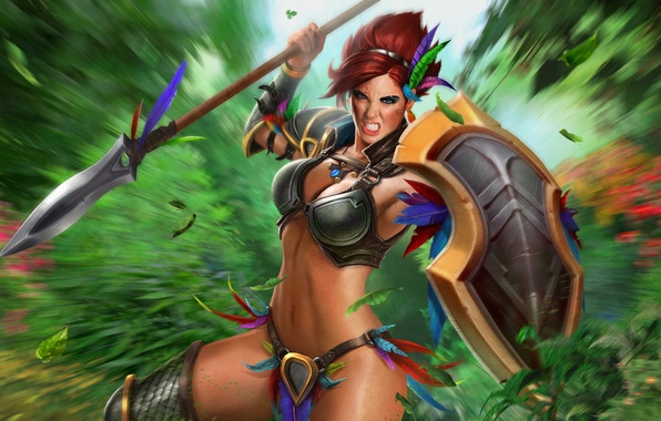 Picture girl, the game, shield, spear, Amazon, Juggernaut Wars, Amazon Hecate