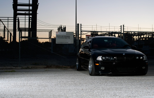Picture the sky, black, bmw, BMW, coupe, the evening, the fence, black, front view, tuning, substation, …