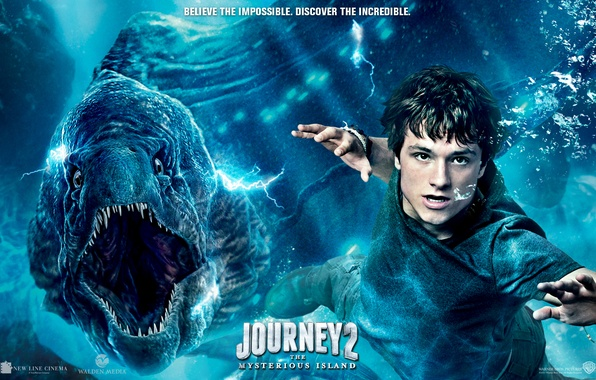 Picture bubbles, the situation, teeth, mouth, poster, under water, floats, reptile, Josh Hutcherson, Josh Hutcherson, Journey …