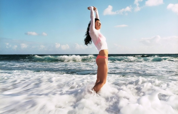Picture sea, wave, foam, girl, mood, Eden, ideal