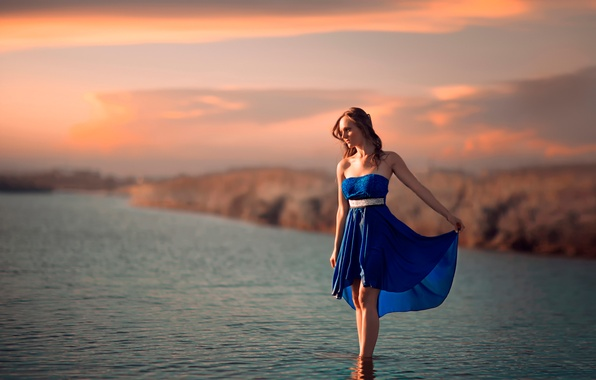 Picture girl, dress, in the water, In the blue