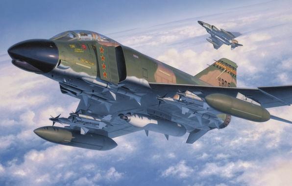 Picture fighter, war, art, painting, aviation, jet, McDonnell Douglas F-4 Phantom II