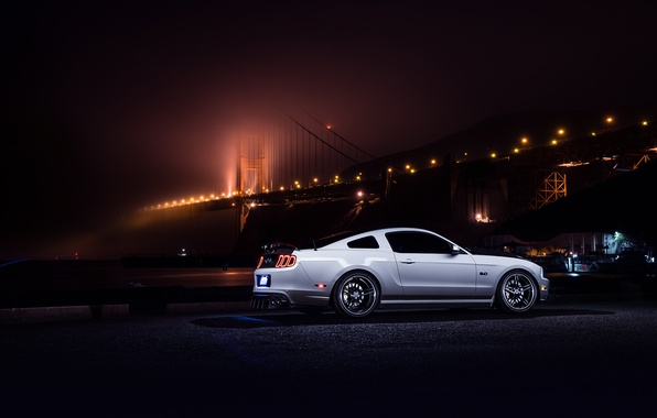 Picture Mustang, Ford, Muscle, Car, Bridge, White, Collection, Aristo, Rear, Nigth, Smog