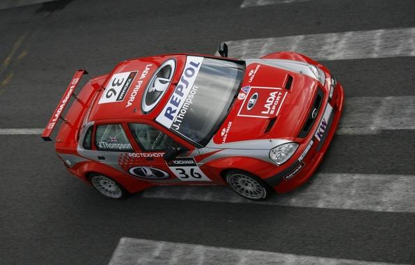 Picture red, sport, tuning, track, Lada, Lada, prior, priora