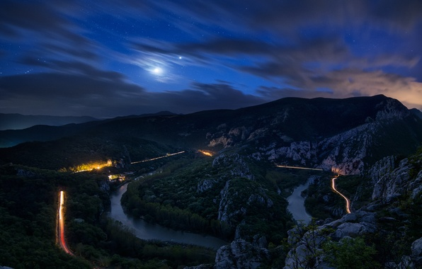 Picture road, forest, clouds, trees, mountains, night, river, stones, the moon, the sky.stars
