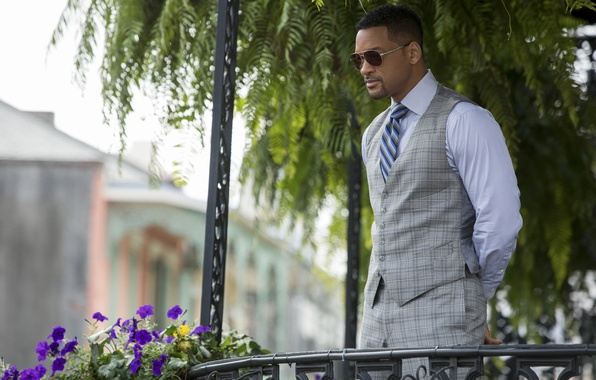 Picture flowers, glasses, costume, actor, Focus, terrace, Will Smith, Focus, Will Smith