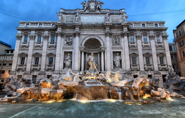 Picture water, lights, the evening, fountain, sculpture, Italy, Rome, Trevi