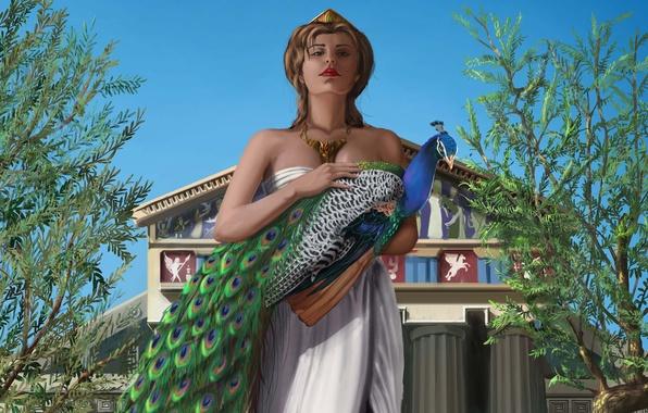 Picture girl, trees, bird, art, peacock, Palace, goddess, Gera