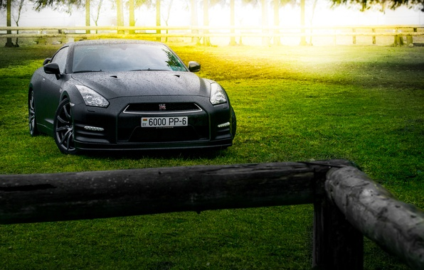 Picture GTR, Japan, Nissan, Car, Front, Black, Sun, Matte, R35, Sport, Summer, Forest, Farm