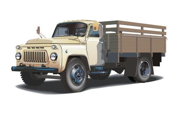 Picture retro, vector, truck, cabin, ZIL