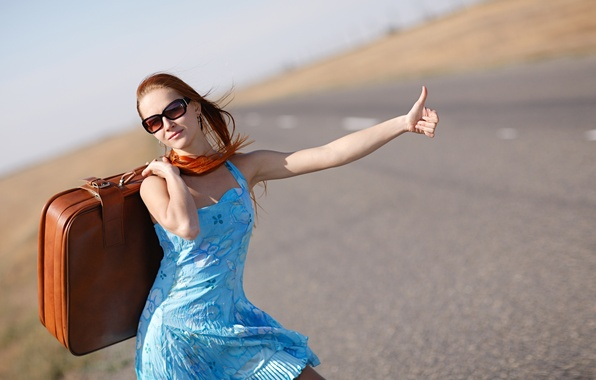 Picture girl, dress, highway, glasses, suitcase, is, gesture, redhead, hitchhiking, vote, bokeh, on the road