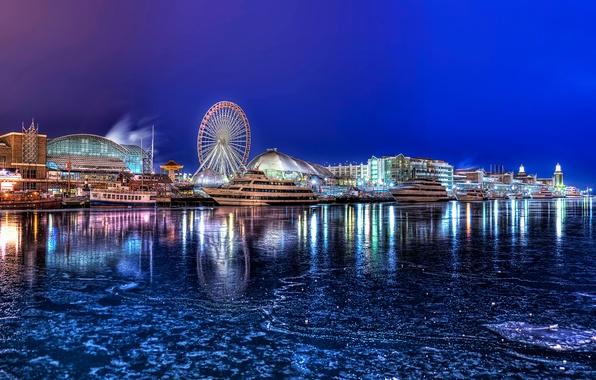 Picture winter, night, the city, yachts, Chicago, promenade, Illinois