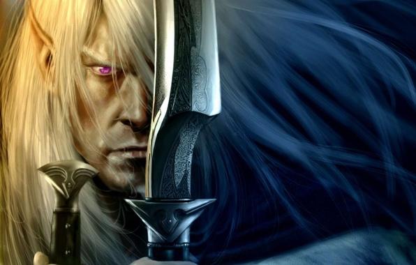 Picture weapons, elf, focus, warrior, art, swords, swords, drow, dark elf, Robert Salvatore, Drizzt Do'urden, Drizzt, …
