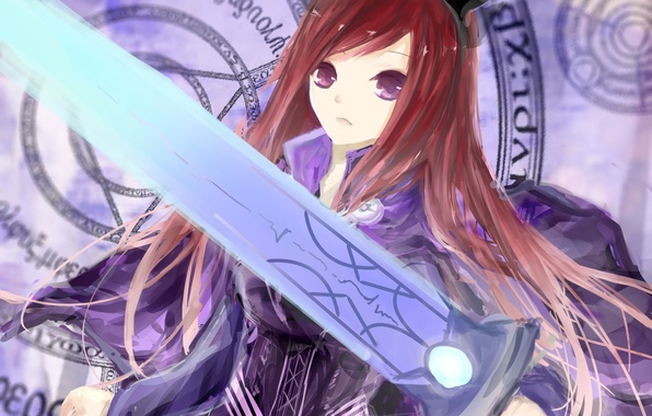 Picture girl, weapons, sword, anime, art, ears, fairy tail, tale of fairy tail, ezra scarlet, jomill