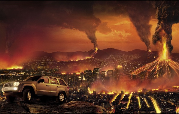 Picture the city, fire, Apocalypse, building, destruction, jeep, volcanoes, car, jeep, grand cherokee