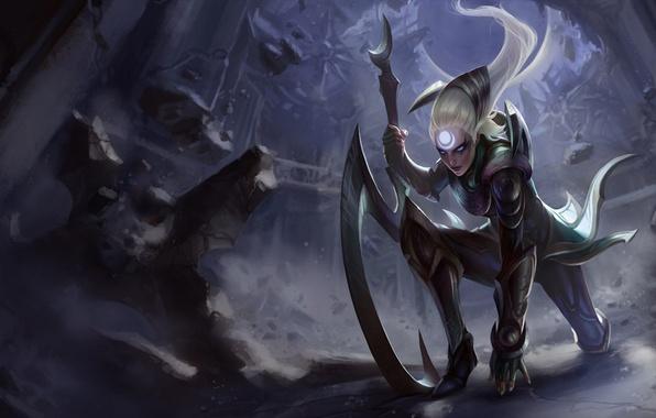 Picture girl, stones, weapons, tattoo, blow, destruction, symbol, league of legends, diana