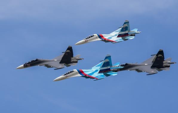 Picture flight, fighters, Stroy, Su-27, Su-30
