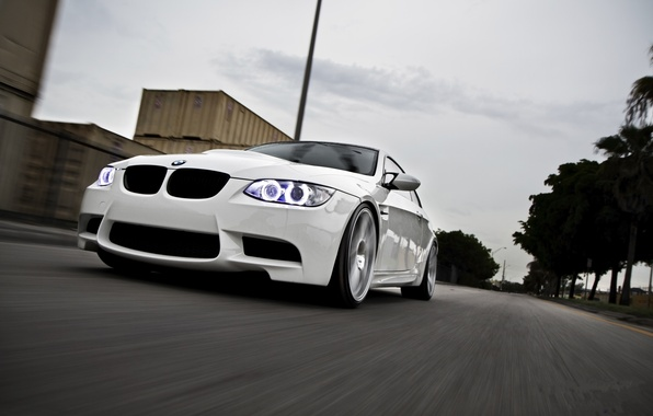 Picture road, white, the sky, palm trees, bmw, BMW, white, road, containers, speed, e92, daylight