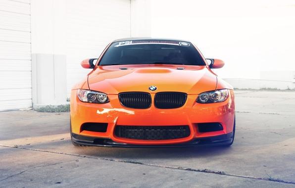 Picture orange, reflection, bmw, BMW, the front, orange, e92, toned