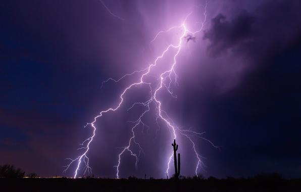 Picture the storm, the sky, night, clouds, zipper, AZ, USA, purple