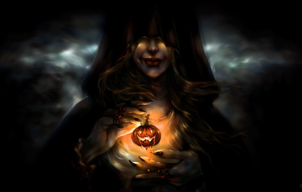 Photo wallpaper witch, girl, pumpkin, Halloween, face, smile, art, hood, holiday, hands