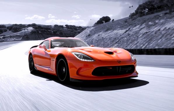 Picture Dodge, supercar, Viper, sky, speed, orange, track, SRT