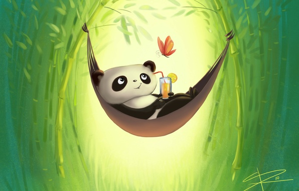 Picture stay, butterfly, figure, bamboo, hammock, Panda, drink