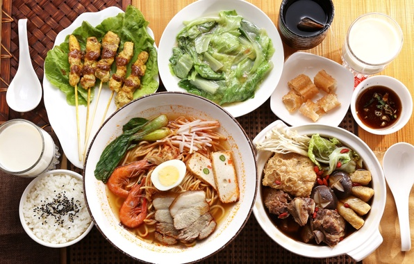 Picture figure, sauce, shrimp, Japanese cuisine, meals, noodles, tofu, kebabs