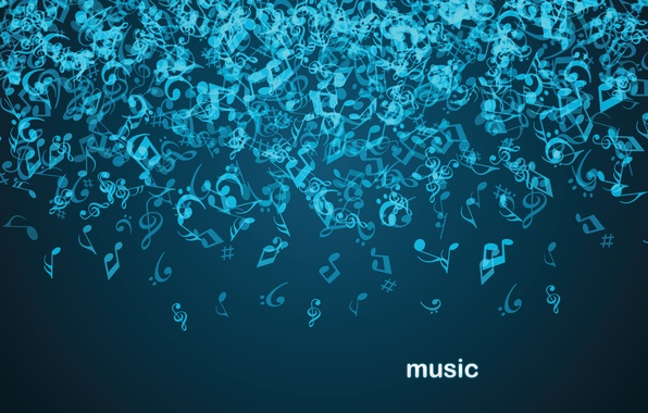 Picture abstraction, notes, music, music, drop, gravity, dark blue background, music.
