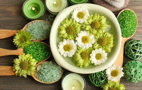 Picture flowers, candles, relax, flowers, Spa, still life, candles, salt, spa, salt, wellness