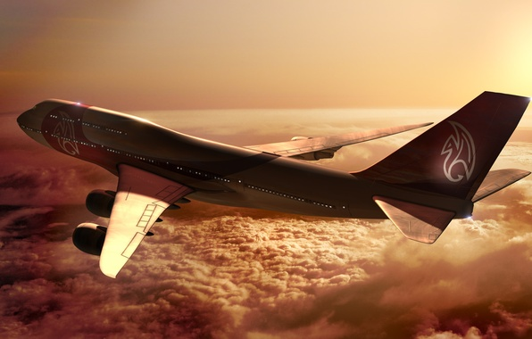 Picture Sunset, The sun, The sky, Clouds, The plane, Flight, Rays, Boeing, Height, Boeing, 747