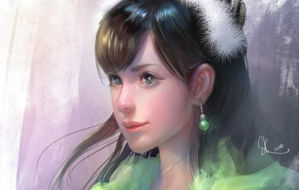 Picture look, girl, face, background, hair, art, earrings, green eyes