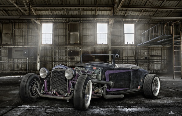 Picture retro, hangar, classic, the front, hot-rod, classic car