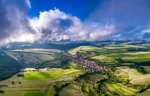 Picture clouds, trees, field, home, Czech Republic, panorama, Bystrice Pod Lopenikem