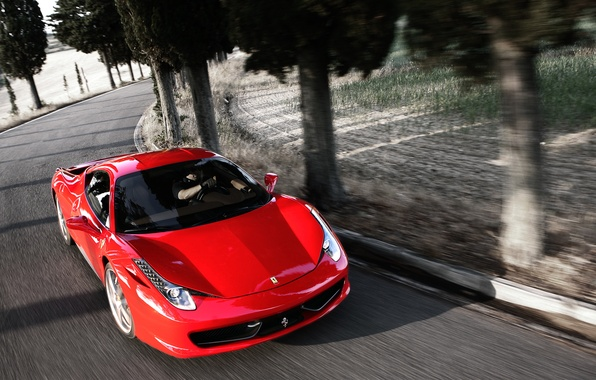 Picture Red, Auto, Road, Ferrari, Asphalt, The hood, Ferrari, 458, Italia, The front, Sports car, In …