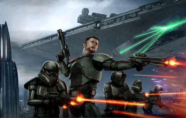 Picture Star Wars, Art, Star Destroyer, Battle, Conqueror, Shadow Scouts, Storm Commandos, Victor Strang