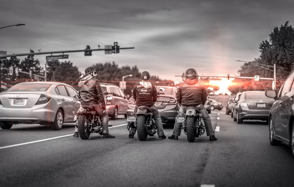 Picture road, motorcycles, morning