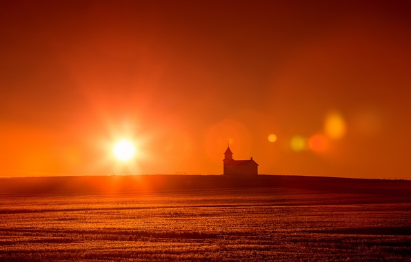 Picture field, landscape, sunset, temple