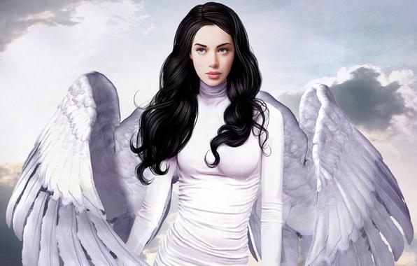 Picture Girl, wings, angel, brunette