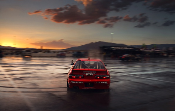 Picture Silvia, Nissan, Red, Drift, Clouds, Sunset, Tuning, S13, Motion, Competition, Sportcar