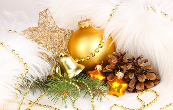 Picture stars, decoration, toys, ball, New Year, Christmas, gold, bells, Christmas, bumps, holidays, New Year, Christmas