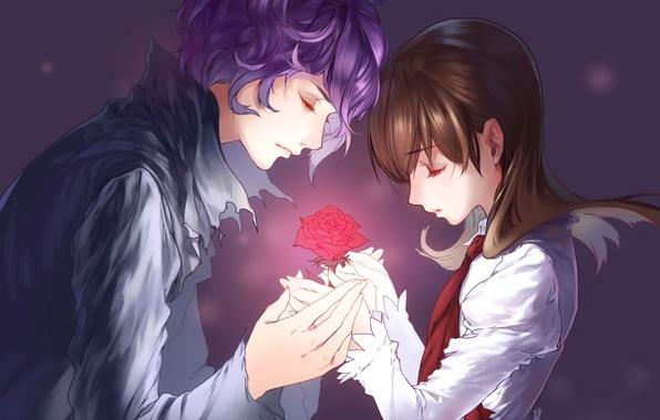 Picture flower, girl, tenderness, rose, guy, game, eve, garry