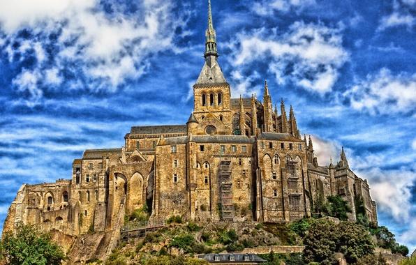 Picture the sky, clouds, trees, castle, France, tower, Normandy, Mont-Saint-Michel