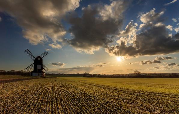 Picture field, the sun, clouds, clouds, mill