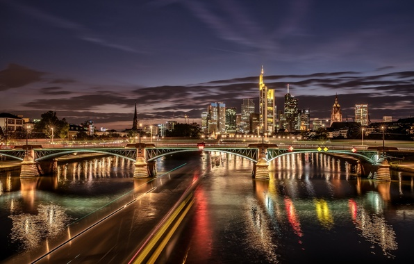 Picture bridge, lights, river, building, Germany, night city, Germany, Frankfurt am main, Frankfurt am Main, Main ...