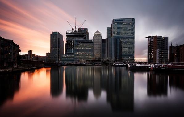 Picture sunset, England, London, london, twilight, sunset, england, canary wharf