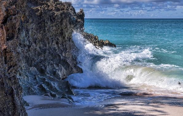 Picture sand, sea, wave, foam, rocks